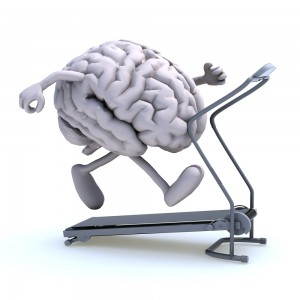 brain with arms and legs walking on a treadmill
