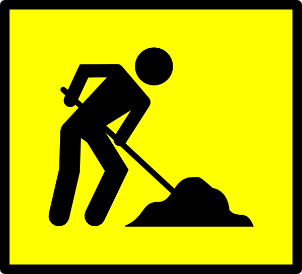 work sign showing person shoveling a pile of dirt