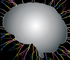 """picture of a """"blank"""" brain surrounded with electrity"""