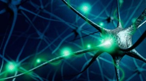 picture of neurons with flashes of synapses connecting