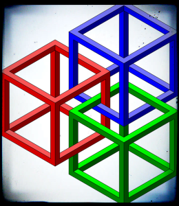 optical illusion interlocking cubes