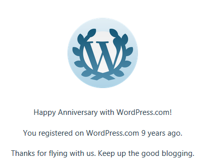 9 year blogging anniversary emblem