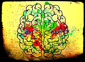 brain withi paint spattered on it and a grungy border