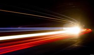 lights streaming through darkness