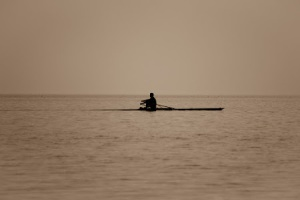 lone rower on water
